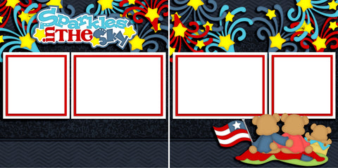 Sparkles in the Sky - Digital Scrapbook Pages - INSTANT DOWNLOAD - EZscrapbooks Scrapbook Layouts July 4th - Patriotic