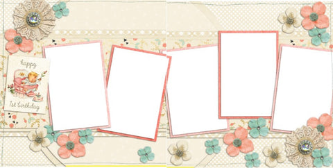 Baby Girl First Birthday - Digital Scrapbook Pages - INSTANT DOWNLOAD