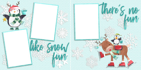 No Fun Like Snow Fun - Digital Scrapbook Pages - INSTANT DOWNLOAD - EZscrapbooks Scrapbook Layouts Christmas, holidays, santa