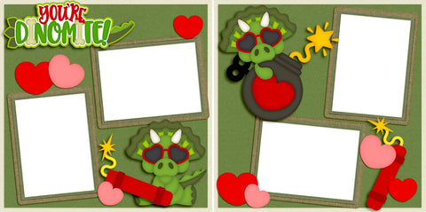 You're Dinomite - Valentine - Digital Scrapbook Pages - INSTANT DOWNLOAD
