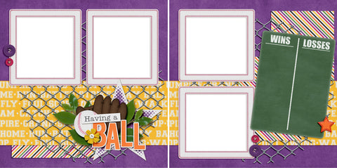 Having A Ball - Digital Scrapbook Pages - INSTANT DOWNLOAD - EZscrapbooks Scrapbook Layouts softball, Sports
