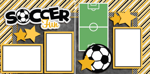 Soccer Fun Yellow - Digital Scrapbook Pages - INSTANT DOWNLOAD