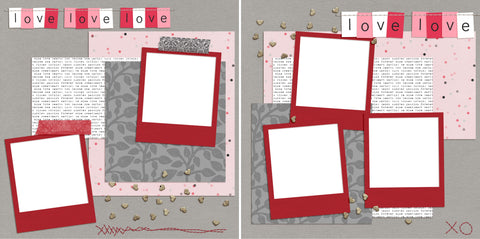 Love Love Love - Digital Scrapbook Pages - INSTANT DOWNLOAD