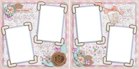 Hugs & Kisses - Digital Scrapbook Pages - INSTANT DOWNLOAD - EZscrapbooks Scrapbook Layouts flowers, pink, spring, summer