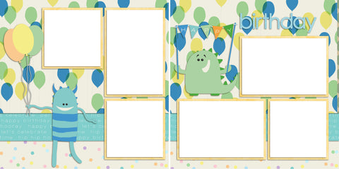 Birthday Balloons Blue - Digital Scrapbook Pages - INSTANT DOWNLOAD