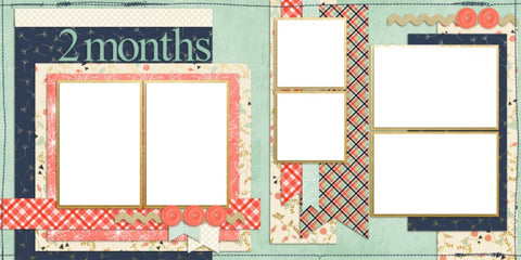 Baby Girl 2 Months - Digital Scrapbook Pages - INSTANT DOWNLOAD