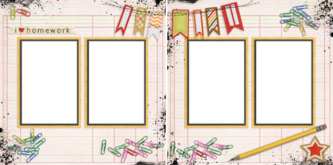 Homework - Digital Scrapbook Pages - INSTANT DOWNLOAD - 2019