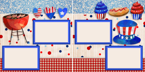 BBQ on the 4th - Digital Scrapbook Pages - INSTANT DOWNLOAD