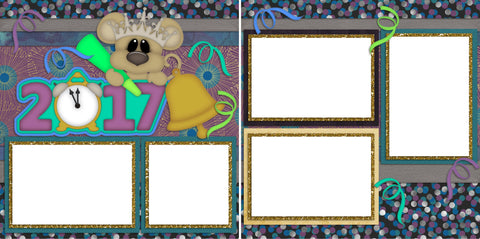 2017 New Year's Mouse - Digital Scrapbook Pages - INSTANT DOWNLOAD