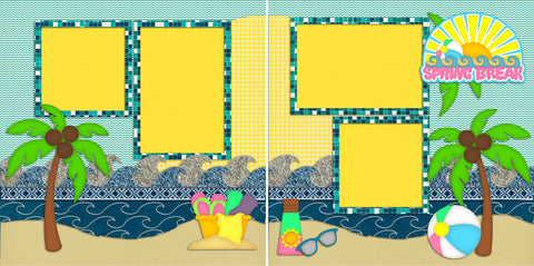 Spring Break - 2063 - EZscrapbooks Scrapbook Layouts Beach - Tropical, Kids, Spring - Easter, Summer, Vacation