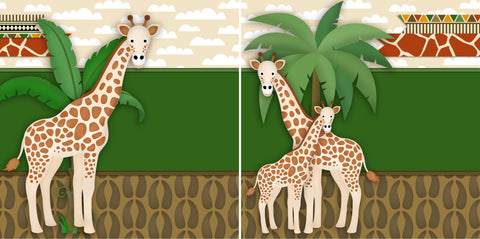 Giraffes NPM - 2372 - EZscrapbooks Scrapbook Layouts Animals, Disney