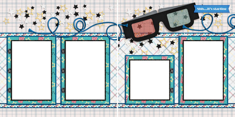 3-D Movie - Digital Scrapbook Pages - INSTANT DOWNLOAD