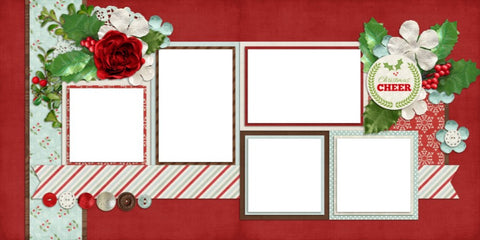 Christmas Cheer - Digital Scrapbook Pages - INSTANT DOWNLOAD - EZscrapbooks Scrapbook Layouts