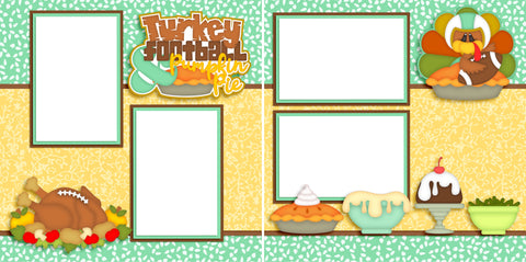 Turkey & Football - Digital Scrapbook Pages - INSTANT DOWNLOAD - EZscrapbooks Scrapbook Layouts Thanksgiving