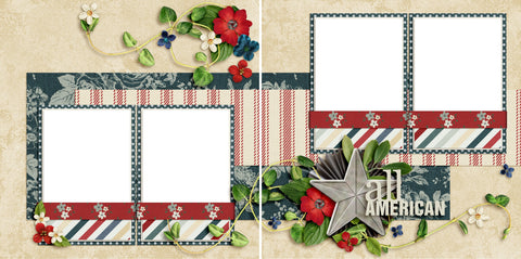 All American - Digital Scrapbook Pages - INSTANT DOWNLOAD - 2019