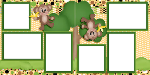 Tree Monkeys - Digital Scrapbook Pages - INSTANT DOWNLOAD