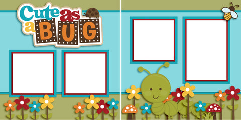 Cute as a Bug Boy - Digital Scrapbook Pages - INSTANT DOWNLOAD - EZscrapbooks Scrapbook Layouts Baby - Toddler, Outside Play