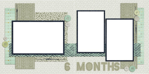 Baby Boy 6 Months - Digital Scrapbook Pages - INSTANT DOWNLOAD