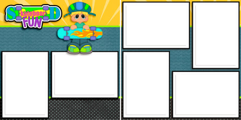 Skateboard Fun Boy - Digital Scrapbook Pages - INSTANT DOWNLOAD