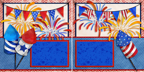 Fireworks - 2755 - EZscrapbooks Scrapbook Layouts July 4th - Patriotic
