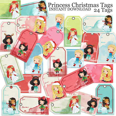 Princess Christmas Tags - INSTANT DOWNLOAD