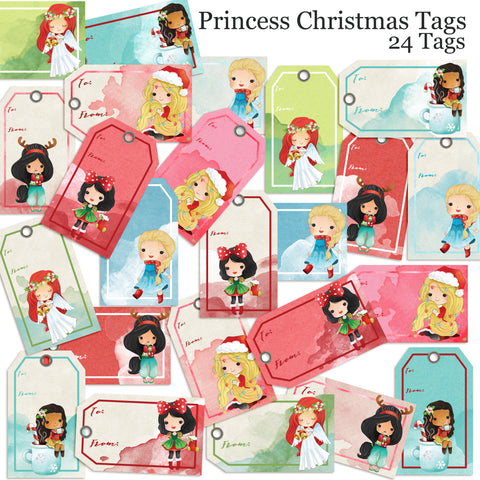 Princess Christmas Tags - EZscrapbooks Scrapbook Layouts Christmas, Christmas Gift Tags, Disney