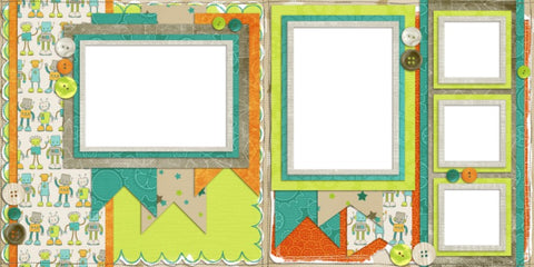 Robot Banners - Digital Scrapbook Pages - INSTANT DOWNLOAD