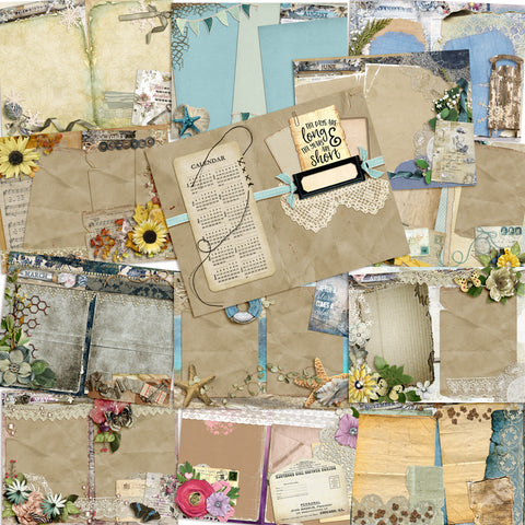 Shabby Calendar Journal - INSTANT DOWNLOAD - EZscrapbooks Scrapbook Layouts Digital Journals
