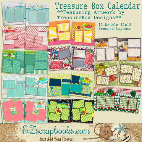 Treasure Box Designs Calendar - 12 Double Page Layouts - 1158 - EZscrapbooks Scrapbook Layouts Months of the Year