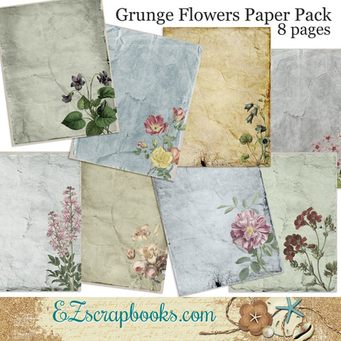 Grunge Flowers Journal Paper Pack - 7035