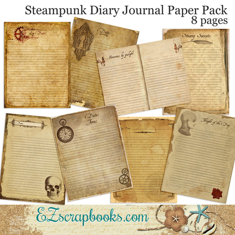 Steampunk Diary Journal Paper Pack - 7068