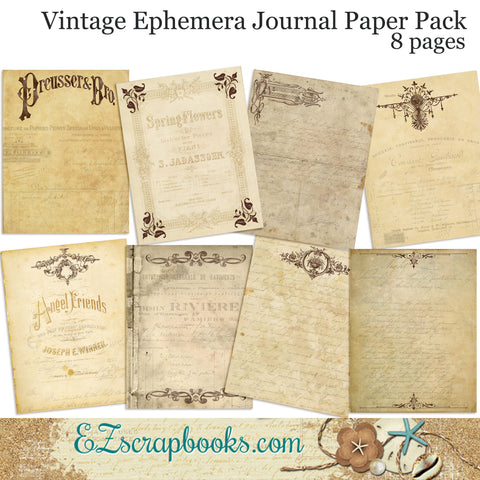 Vintage Ephemera Journal Paper Pack - 7071