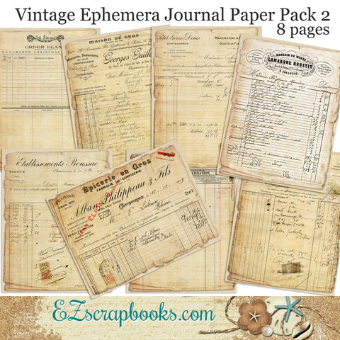 Vintage Ephemera 2 Journal Paper Pack - 7072