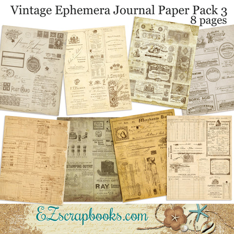 Vintage Ephemera 3 Journal Paper Pack - 7073