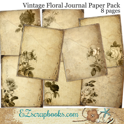 Vintage Floral Journal Paper Pack - 7074