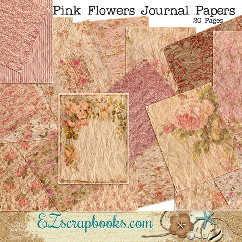 Pink Floral Journal Paper Pack - 7100