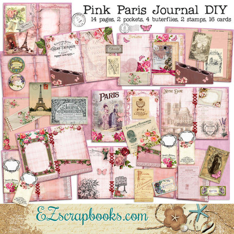Pink Paris Junk Journal Kit - 7105