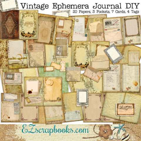 Vintage Ephemera Junk Journal Kit - 7106
