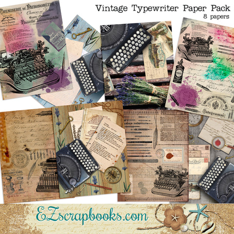 Vintage Typewriter Journal Paper Pack - 7136