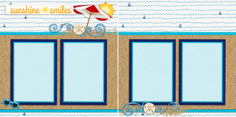 Sunshine Smiles - 2070 - EZscrapbooks Scrapbook Layouts Beach - Tropical, Kids, Summer, Vacation