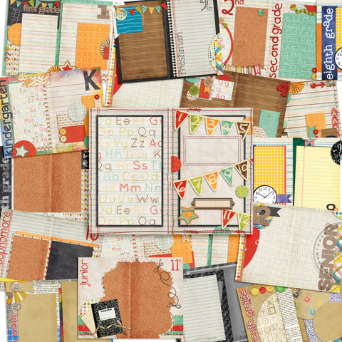 School Days Journal - INSTANT DOWNLOAD - EZscrapbooks Scrapbook Layouts Digital Journals