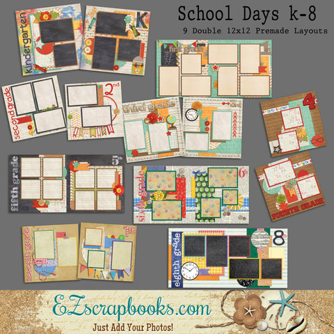 School Days K-8 Set of 9 Double Page Layouts - EZscrapbooks Scrapbook Layouts Kids, School