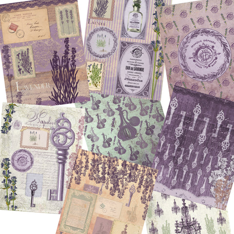 Shabby Lavender Paper Pack - 7208 - EZscrapbooks Scrapbook Layouts Journals