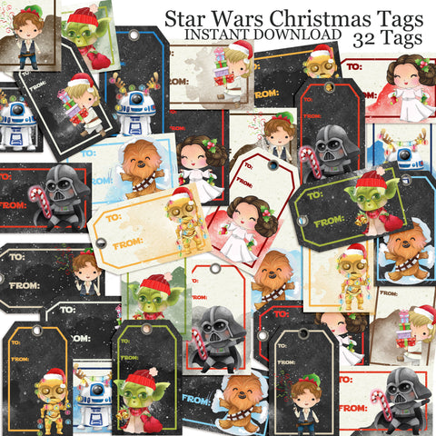 Star Wars Christmas Tags - INSTANT DOWNLOAD - EZscrapbooks Scrapbook Layouts Christmas, Disney