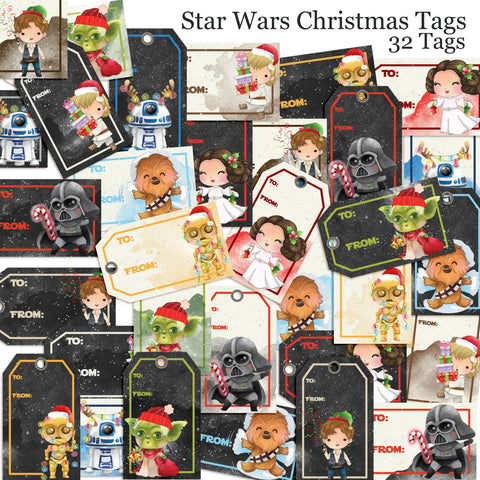 Star Wars Christmas Tags - EZscrapbooks Scrapbook Layouts Christmas, Christmas Gift Tags, Disney