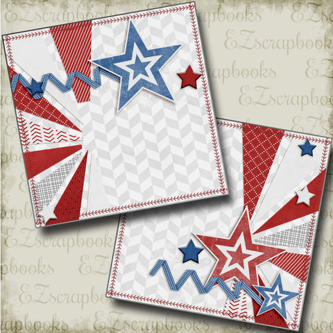 July 4th NPM - 4151 - EZscrapbooks Scrapbook Layouts baseball, July 4th - Patriotic