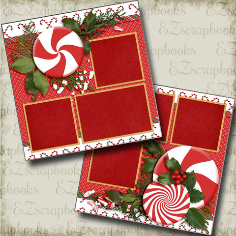 Peppermint Holiday - 3578 - EZscrapbooks Scrapbook Layouts Christmas