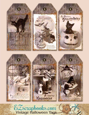 Vintage Halloween Tags - 9037 - EZscrapbooks Scrapbook Layouts Halloween