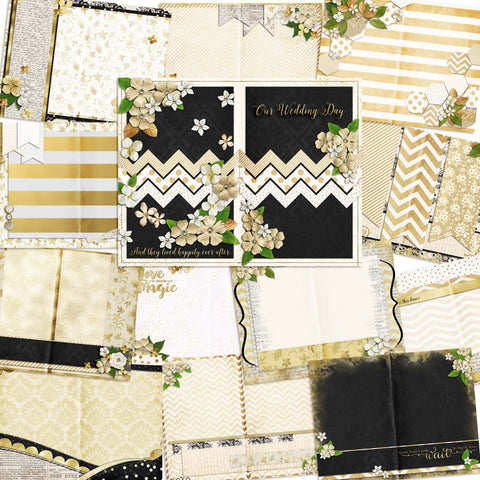 Wedding Day Journal - INSTANT DOWNLOAD - EZscrapbooks Scrapbook Layouts Digital Journals