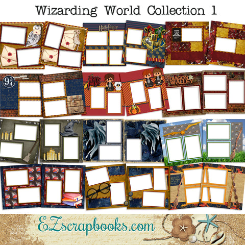 Wizarding World Collection 1 - Digital Bundle - 24 Digital Scrapbook Pages - INSTANT DOWNLOAD